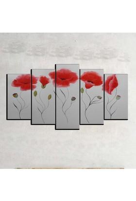 Kanvas Burada FLO5-30 Çiçek 5 Parçalı Dekoratif Kanvas Tablo - 120 x 60 cm