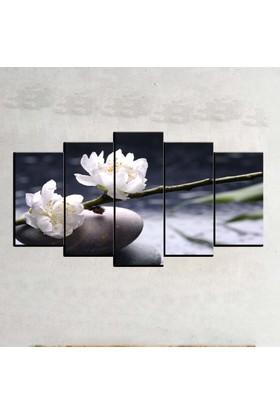 Kanvas Burada FLO5-165 Çiçek 5 Parçalı Dekoratif Kanvas Tablo - 120 x 60 cm