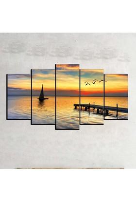 Kanvas Burada MNZ5-38 Manzara 5 Parçalı Kanvas Tablo - 120 x 60 cm