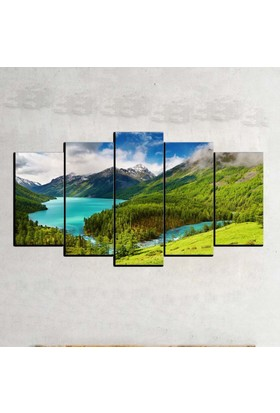 Kanvas Burada MNZ5-521 Manzara 5 Parçalı Kanvas Tablo - 120 x 60 cm