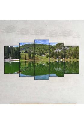 Kanvas Burada MNZ5-2363 Manzara 5 Parçalı Kanvas Tablo - 150 x 75 cm