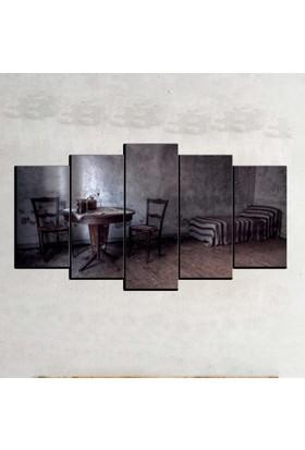 Kanvas Burada SYB5-75 Siyah Beyaz 5 Parçalı Tablo - 120 x 60 cm
