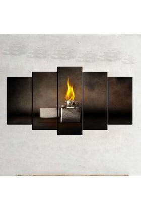 Kanvas Burada ABS5-114 Soyut 5 Parçalı Kanvas Tablo - 120 x 60 cm