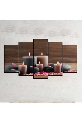 Kanvas Burada ABS5-117 Soyut 5 Parçalı Kanvas Tablo - 120 x 60 cm