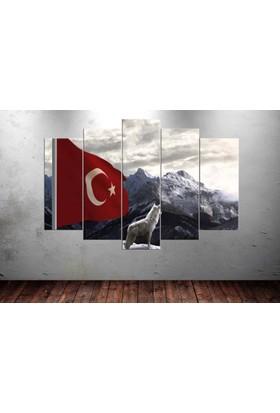 Kanvas Burada TURK5-69 Bozkurt Türk 5 Parçalı Kanvas Tablo - 120 x 60 cm