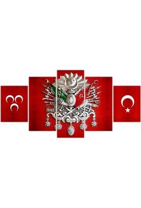 Kanvas Burada TURK5-71 Osmanlı Arma 5 Parçalı Kanvas Tablo - 120 x 60 cm