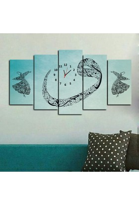 Kanvas Burada DİN5-119 Vav İstanbul Saatli Dini Dekoratif 5 Parçalı Kanvas Tablo - 120 x 60 cm