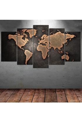 Kanvas Burada DEK5-4 Dünya Haritası 5 Parçalı Kanvas Tablo - 120 x 60 cm