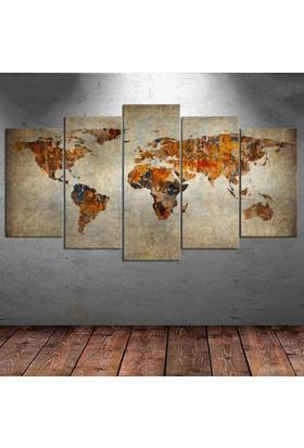 Kanvas Burada DEK5-1 Dünya Haritası 5 Parçalı Kanvas Tablo - 120 x 60 cm