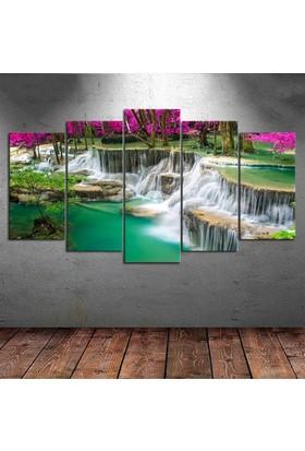 Kanvas Burada DEK5-32 Şelale Doğa Manzaralı 5 Parçalı Kanvas Tablo - 120 x 60 cm
