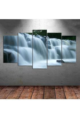 Kanvas Burada DEK5-36 Şelale Manzaralı 5 Parçalı Kanvas Tablo - 120 x 60 cm