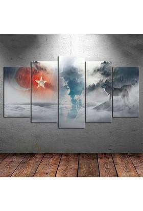 Kanvas Burada ATA5-73 Atatürk Bozkurt 5 Parçalı Kanvas Tablo - 120 x 60 cm