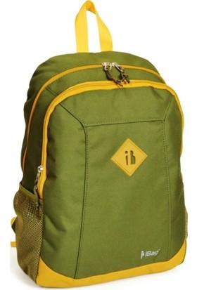 iBag 13760 İki Bölmeli Yeşil - Sarı Renk Sırt - Okul Çantası