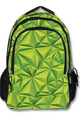 Ümit Çanta Cennec Yeşil Üç Bölmeli Sırt Çantası - Geometrik Şekiller