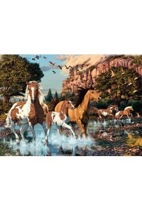 Dino Puzzle 1000 Parça Doğda'da Koşan Atlar Puzzle - Secret Serisi