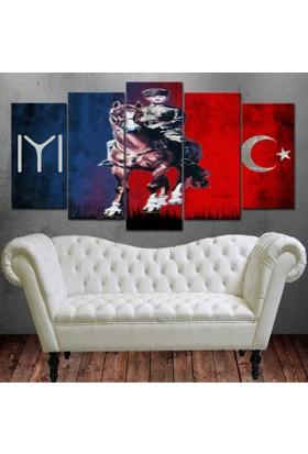 Dekorme Atlı Atatürk 5 Paraçlı Kanvas Tablo