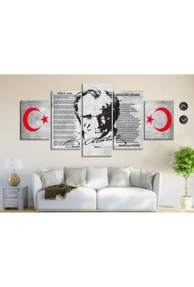 Dekorme Atatürk 5 Paraçlı Kanvas Tablo
