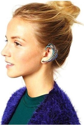 Hane14 Empress Mavi Kristal Taşlı Ear Cuff Küpe Silver