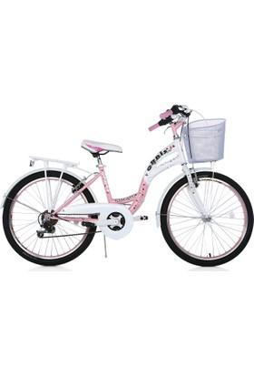 """Orbis Hermosa 24"""" 21 Vites Pembe Beyaz Şehir Bisikleti"""