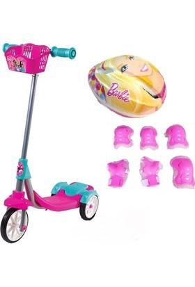 Furkan Toys Barbie Scooter Kask Dizlik Lisanslı Fulll Set