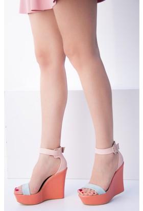 Fox Shoes Mavi PudraTuruncu Kadın Dolgu Topuklu Sandalet 9459608109