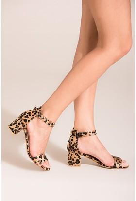 Fox Shoes Leopar Kadın Topuklu Sandalet B494709002