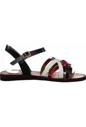 Fox Shoes Kırmızı Beyaz Lacivert Kadın Sandalet B713690709