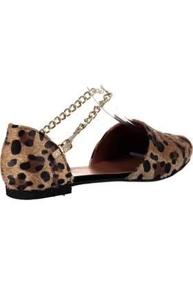 Fox Shoes Leopar Kadın Babet B726024402