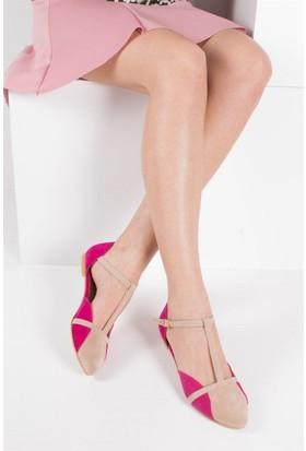 Fox Shoes Ten Fuşya Kadın Babet B726881802