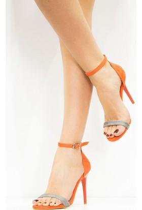 Fox Shoes Gri Turuncu Kadın Topuklu Ayakkabı B922112602