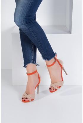 Fox Shoes Ten Turuncu Kadın Topuklu Ayakkabı B922113802