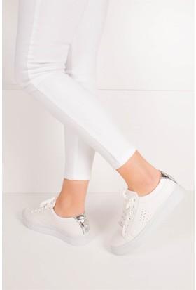 Fox Shoes Beyaz Lame Kadın Ayakkabı B924161009