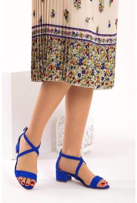 Fox Shoes Saks Mavi Kadın Topuklu Sandalet D340010602