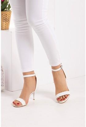 Fox Shoes Beyaz Kadın Topuklu Ayakkabı D340040009