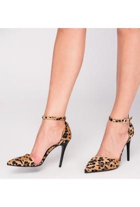 Fox Shoes Leopar Kadın Topuklu Ayakkabı D340086502