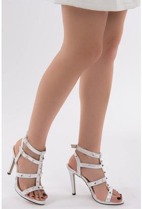 Fox Shoes Gümüş Kadın Topuklu Ayakkabı D404218014