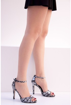 Fox Shoes Platin Kadın Topuklu Ayakkabı D404218207