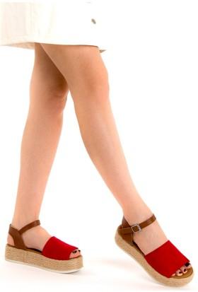 Fox Shoes Kırmızı Kadın Dolgu Topuklu Sandalet D432600002