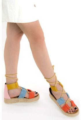 Fox Shoes TuruncuMaviHardal Kadın Dolgu Topuklu Sandalet D432600102