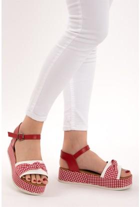 Fox Shoes Kırmızı Beyaz Kadın Dolgu Topuklu Sandalet D432600704