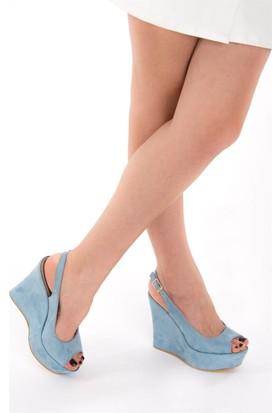 Fox Shoes Mavi Kadın Dolgu Topuklu Sandalet D459808002