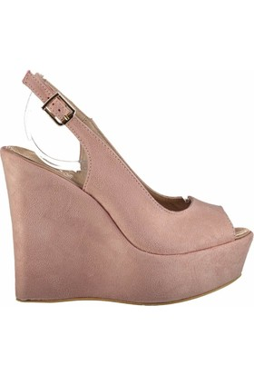 Fox Shoes Pudra Kadın Dolgu Topuklu Sandalet D459808002