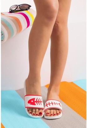 Fox Shoes Beyaz Pembe Kadın Terlik D476000709