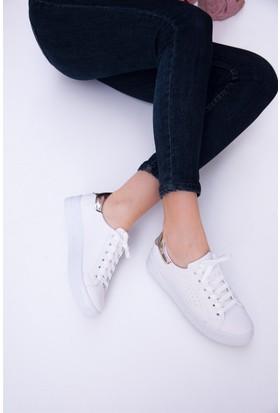 Fox Shoes Beyaz Altın Kadın Sneakers D540171009