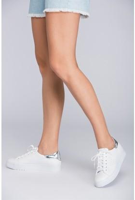Fox Shoes Beyaz Gümüş Kadın Sneakers D540171009