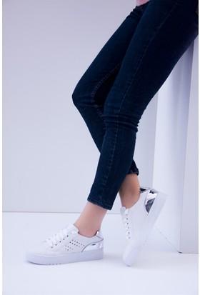 Fox Shoes Beyaz Gümüş Kadın Sneakers D540174009