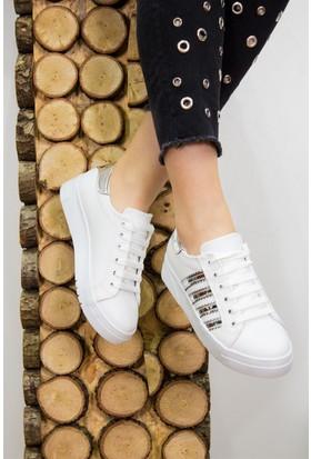 Fox Shoes Beyaz Gümüş Kadın Sneakers D540174509