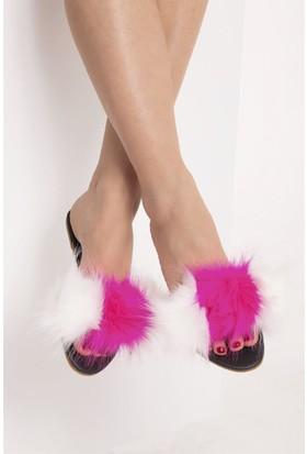 Fox Shoes Beyaz Fuşya Kadın Terlik D551447009