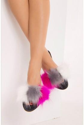 Fox Shoes FuşyaGri Beyaz Kadın Terlik D551447009
