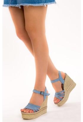 Fox Shoes Mavi Kadın Dolgu Topuklu Sandalet D583156102